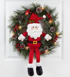 Keepsake Santa Wreath with LED Holiday Door Décor Christmas Present Santa Wreath, Christmas Door Wreaths, Christmas Door Decorations, Christmas Flowers, Xmas Ornaments, Christmas Holidays, Merry Christmas, Christmas Floral Arrangements, Personalized Christmas Gifts
