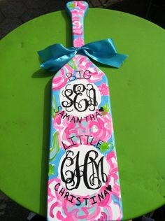 Lilly Pulitzer inspired Monogram Paddle