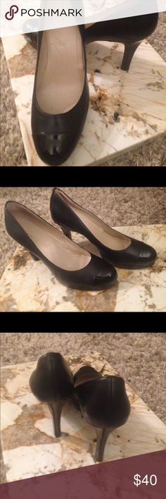 Tahari Laura pumps Like new TAHARI Laura leather/ Patent leather pump. Great addition to any shoe collection. Works well with business attire with the patent leather capped toe and heel. Heel height 3.5 inches. Tahari Shoes Heels