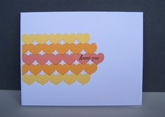 handmade greeting card ... card sketch: CAS(E) this sketch! #38 ... turned on its side ... die cut hearts form lines of luscious citrus colors ... luv this color combo!!