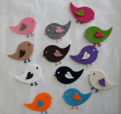 Felt Crafts, Diy And Crafts, Arts And Crafts, Laser Cutter Ideas, Tooth Pillow, Stick Art, Baby Ornaments, Felt Embroidery, Felt Birds