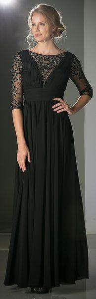 Black Lace Mid Sleeves Mother of Bride/Groom Dress #discountdressshop #mobdress #formaldress #black #midsleeves #gownsanddresses
