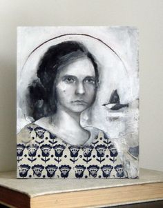 i love the sharpness of the print on her shirt in contrast with the rest of the painting - lauren gray
