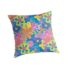 A bright zingy floral repeat pattern that has a slight retro feel about it; it's a fresh summery mixed media design by Gabriella Buckingham. / I love the pillows and pouches, and wouldn't the duvet cover look great in a white bedroom? A real pop of colour. • Also buy this artwork on home decor, apparel, phone cases, and more.