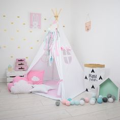 Teepee Set Kids Play Teepee Tent Tipi Kid Playhouse Wigwam Zelt Tente -Snow Queen by MamaPotrafi on Etsy