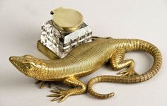 Victorian Inkwell with brass salamander. Wow!