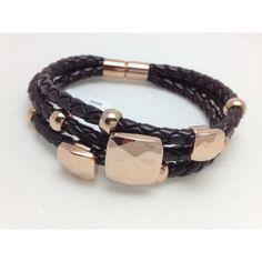 Pulsera de piel marron y acero color rosa/Pulsera de acero http://relojesplatayacero.com/