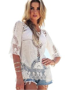 Hollow Out Crochet Knitting Lace Beach Cover Up Dress