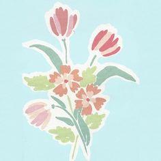 Vintage Laura Ashley, Tulip Bunch on Light Blue Background