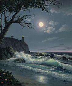 clouds, dark, lighthouse, moon, moonlight, nature, night, ocean, rock, sea, sky, tree, waves