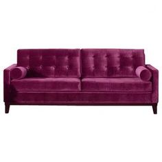 "Offer guests an extra seat with this stylish design, an enviable addition to your well-appointed home.   Product: SofaConstruction Material: Wood and velvetColor: PurpleFeatures:  Transitional styleSleek and low button back Dimensions: 34"" H x 84"" W x 36"" D Note: Bolster pillows not included"