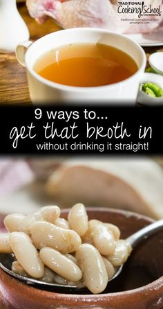 9 Ways To Get That Broth In (Without Drinking It Straight!)   One of the keystones of a traditional diet, and especially the gut-healing GAPS Diet, is nourishing stock. We should have some every day. You may not be on the GAPS Diet, but remember -- stock is nourishing and healthy for everyone. Try these 9 ways to get broth in without drinking it straight and see if your gut health doesn't improve!   TraditionalCookingSchool.com Healthy Cooking, Healthy Soup Recipes, Whole Food Recipes, Snack Recipes, Free Recipes, Yummy Recipes, Gut Health, Health And Nutrition, Gaps Diet