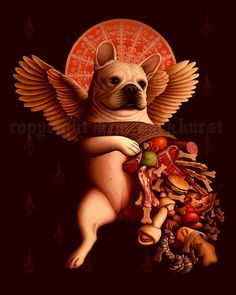 Love the cornucopia of dog goodies! French Bulldog Renaissance Cherub print by toadbriar on Etsy, $22.00
