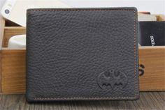 Black Mens Batman Leather Bifold Wallet Credit/ID Card Holder Slim Coin Purse A