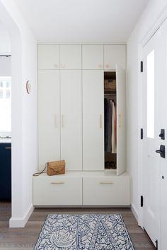 Updated Laguna Beach Home Interior Design Remodel - Kleiderschrank ideen Hallway Storage, Closet Storage, Tall Cabinet Storage, Ikea Hallway, Built In Storage, Hall Storage Ideas, Kitchen Storage, Shoe Cabinet Entryway, Hallway Bench
