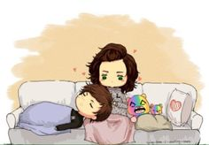 This Larry fanart is so freaking adorable! >w< So cute and cuddly with the bears as well! Fanfic Larry Stylinson, Larry Shippers, One Direction Fan Art, One Direction Cartoons, Do I Wanna Know, Fanart, Harry Styles Wallpaper, Louis And Harry, 1d And 5sos