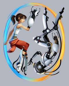 Portal: Glados vs Chell - by Sam Bragg Get it on a t-shirt here Portal Art, Aperture Science, You Monster, Just A Game, Fanart, The Victim, Great Videos, Video Game Art, Best Games