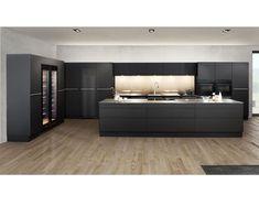 """bautrends.ch auf Instagram: """"Stahlküche in Mattschwarz. Wir finden es sehr gelungen! Forster präsentiert mit der neuen Farbe «Nero» eine zurückhaltend, luxuriös…"""" Bathroom Lighting, Mirror, Furniture, Instagram, Home Decor, Matte Black, Steel, Color, Bathroom Vanity Lighting"""