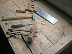 antique carpenter's tools on the table of the woodwork  Stock Photo