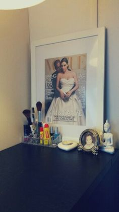 Vogue-frontpage in a large IKEA frame Ikea Frames, Vogue, Makeup, Table, Diy, Home Decor, Maquillaje, Do It Yourself, Homemade Home Decor