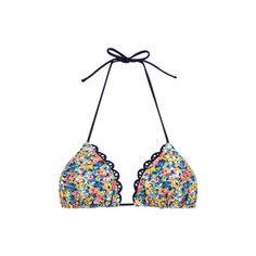 Jessica Simpson Poppies String Top ($25) ❤ liked on Polyvore featuring swimwear, bikinis, bikini tops, bathing suits, swimsuits, swim, string bikini, swimsuits bikinis, scallop bikini and swim suits