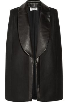 Yves Saint Laurent | Leather-trimmed wool and cashmere-blend cape | NET-A-PORTER.COM