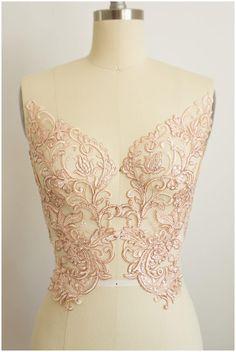 2x large ROSÉ GOLD mirrored lace flower appliqué, Lace flower, Wedding dress lace, lace patch, bridal dress appliqué, gold lace (CLA1Z5346) from CoutureLace on Etsy Studio