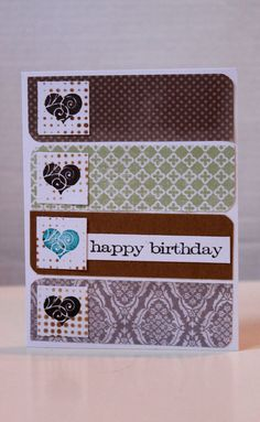 Hearts in a Row Happy Birthday Card, OOAK, by MrsKristenCreations