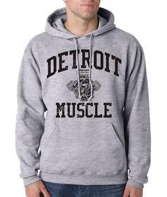 DETROIT MUSCLE HOODIE Motor City Hooded Sweatshirt Graphic Engine Department 313 #RockCityThreads #Hoodie