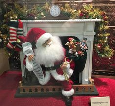 Instantly create a magical Christmas display with the Night Before Christmas Fireplace Santa designed by artist Karen Didion. Shop Santa statement pieces now! Diy Christmas Fireplace, Gold Christmas Ornaments, Gold Christmas Decorations, Christmas Door Wreaths, Christmas Mantels, Magical Christmas, Christmas Wood, White Christmas, Fireplace Mantel
