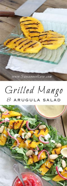 Perfectly grilled mangos over arugula with pickled red onions, feta and Marcona almonds and a creamy tahini-lime dressing. The perfect summer salad for mango lovers everywhere! Salad Recipes, Vegan Recipes, Mango Salad, Arugula Salad, Lime Dressing, I Love Food, Brunch, Food And Drink, Healthy Eating