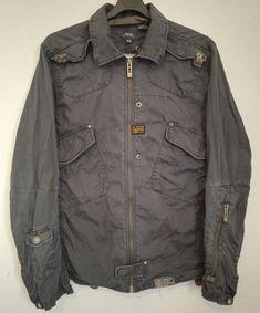 G Star Raw Mens BLAN Shirt Jacket Biker Look Semi Distressed Dark Grey Size XL