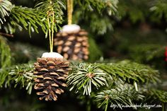 Pine cone & chenille Christmas decoration