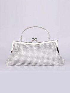 Special Shiny Silver Horizontal Shape Rhinestone Satin Evening Bag for Women