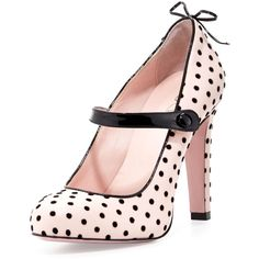 Red Valentino Polka-Dot Leather Mary Jane Pump found on Polyvore featuring shoes, pumps, heels, leather slip on shoes, slip on shoes, leather mary janes, heeled mary janes and leather sole shoes
