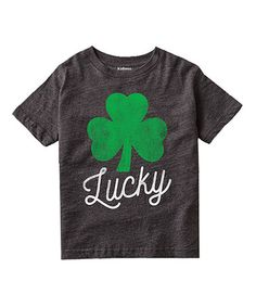 Heather Charcoal 'Lucky' Shamrock Tee - Toddler & Kids