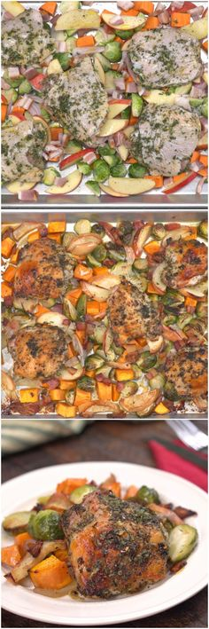 I replaced apples with pre-cut butternut squash and also added large slices of portobello mushroom. it was delicious!