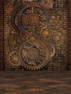 """Wall Mural """"steam, wall, interior - steampunk"""" ✓ Easy Installation ✓ 365 Day Money Back Guarantee ✓ Browse other patterns from this collection!"""