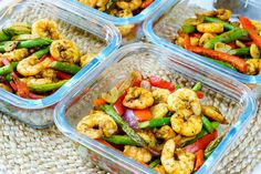 This week's delicious Food Prep, baby!  Clean Eating is never boring with colors like THIS! :) Ingredients: 1 1/2 pounds of shrimp, peeled and deveined 2 red bell peppers, sliced thin 1 red onion, sliced thin 10 oz asparagus, trimmed and cut into halves 1 1/2 Tbsps of avocado oil, or extra...