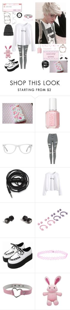 """""""smol fluff bun"""" by emokittyyy ❤ liked on Polyvore featuring Essie, Muse, Topshop, Urbanears, WithChic, Topman and Accessorize"""