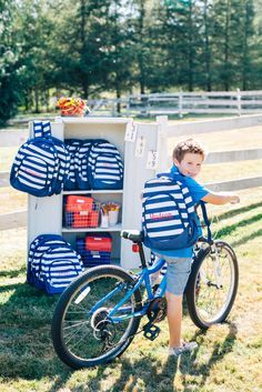 Monogram Backpack - Navy Stripe | Gentry California | $32 | Thank you for the photo Kelly Clare Photography | Click link to shop: http://www.gentrycalifornia.com/collections/backtoschool/products/monogram-backpack-bold-stripes