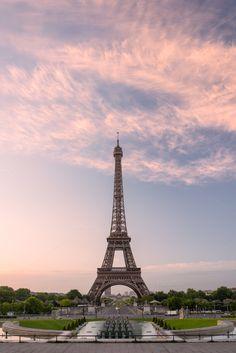 Eiffel tower in Paris on sunrise by Lorena on @creativemarket