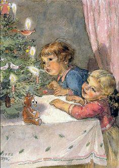 Old Czech Christmas Card Marie Fischerová Kvěchová 1953 Christmas And New Year, Vintage Christmas, Christmas Cards, Jakub Schikaneder, Vintage Book Art, Believe In God, The Kingdom Of God, Soft Summer, Holiday Tree