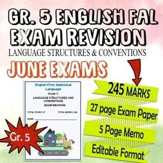 Grade 5 English FAL Exam Revision and Memo- 27 Pages of Language Editable - Teacha! Exam Revision, Exam Papers, Teaching Resources, South Africa, Language, Teacher, African, Classroom, English