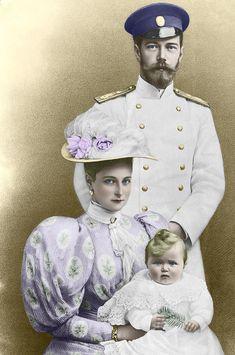 Tsar Nicholas II and Tsarina Alexandra with their first baby Olga.