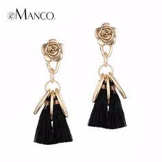 Emanco 5色スタイリッシュな長い房吊りイヤリングための女性黒レトロフラワーブラブラドロップイヤリングファッションジュエリー