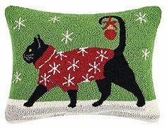 "Walking Holiday Black Cat 14"" X 18"" Wool Hooked Throw Pil..."