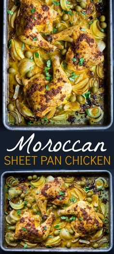 Morrocan Sheet Pan Chicken: Enjoy the flavors of Morocco with richly spiced chicken, savory onions, and tangy olives. Using just one small bowl and a baking sheet, this Moroccan Sheet Pan Chicken is just as easy to clean up as it is to prepare! Morrocan Food, Moroccan Dishes, Sheet Pan Suppers, Chicken Spices, Tumeric Chicken, One Pan Chicken, Chicken Potatoes, Chicken Legs, One Pot Meals