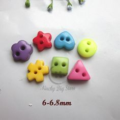 7 shapes mixed mini buttons for craft scrapbooking resin small doll buttons 6mm -6.8mm diy craft accessories