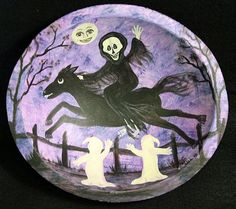 Halloween Folk Art Hand Painted Wooden Bowl by Ravensbend on Etsy, $22.00